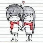 Раскраска девочка и мальчик держаться за руки - 5