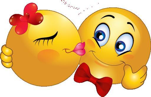 <b>Открытка</b>. С днем поцелуя! <b>Смайлик</b>-девочка целует <b>смайлика</b>... смайлик