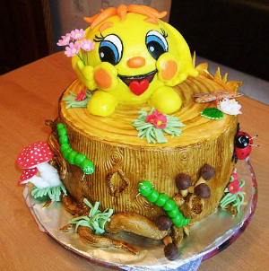 <b>Открытка</b> с днем рождения <b>смайлика</b>. <b>Смайлик</b> на торте смайлик