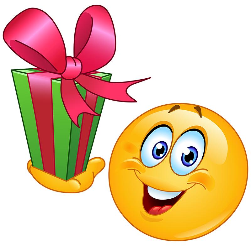 <b>Открытка</b> с днем рождения <b>смайлика</b>. <b>Смайлик</b> с подарком смайлик