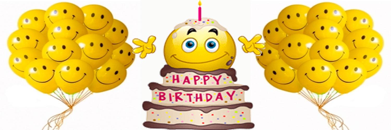 <b>Открытки</b> с днем рождения <b>смайлика</b>. <b>Смайлик</b> на торте, возд... смайлик
