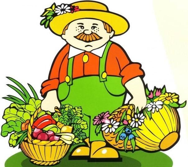 <b>Садовод</b> с корзинами выращенных овощей и фруктов  смайлик