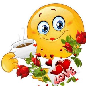 Смайлик гиф анимация картинки: Спасибо! Чай с любовью пьет смайлик среди  цветов скачать