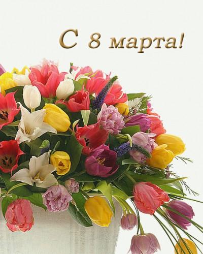 Открытки. 8 марта! Тюльпаны многоцветные! картинка смайлик