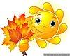Солнце, солнышко Солнышко с букетом осенних листьев смайлики