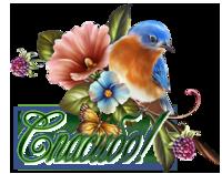 Спасибо! Птичка с цветами
